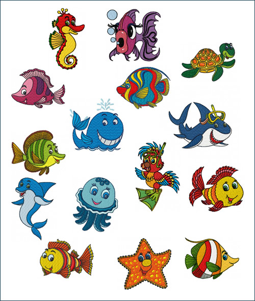 Smileys of the Sea machine embroidery designs
