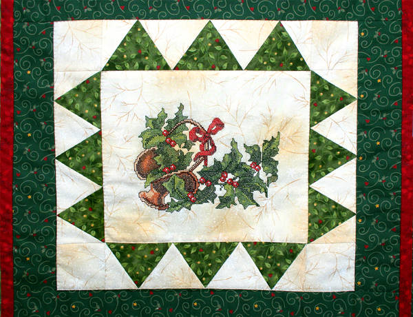 Christmas Quilt with Cardinal Birds and Other Christmas Embroidery Designs