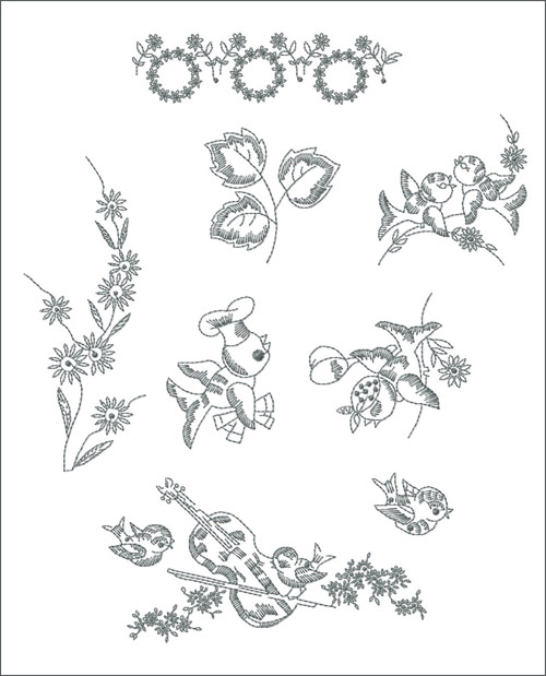 Redwork Gardenmachine embroidery designs