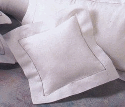 White Linen Hemstitched 12x12 Pillow