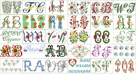 30 Sets of Floral Fonts and Alphabets