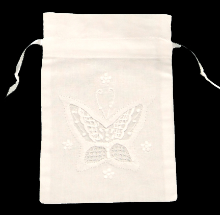 White Linen Sachet with Butterfly