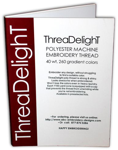 Complete color palette of ThreaDelight embroidery polyester