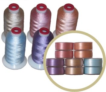 140 bobbins & 20 Thread Cones in 5 Pastel  Matching Colors