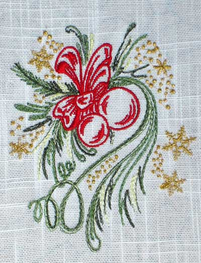 Kitchen Towels with Christmas Beauty Embroidery Designs Set