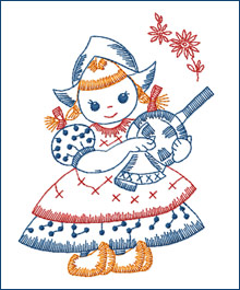 Pan-wiping Dutch Girl  embroidery design