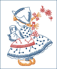 Silverware-shining Dutch Girl  embroidery design