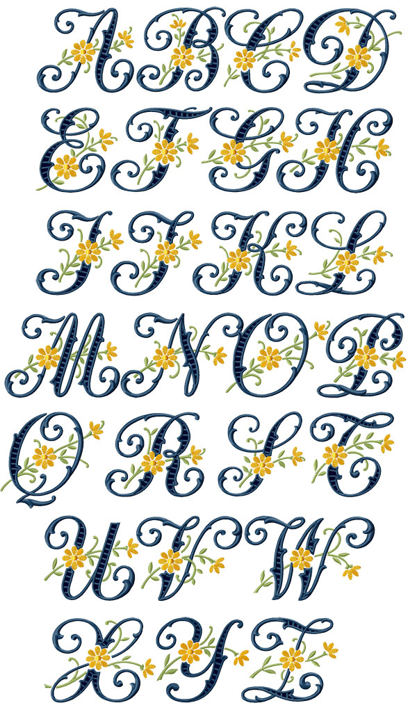 ABC Designs Floral Cutwork Machine Embroidery Font For 5