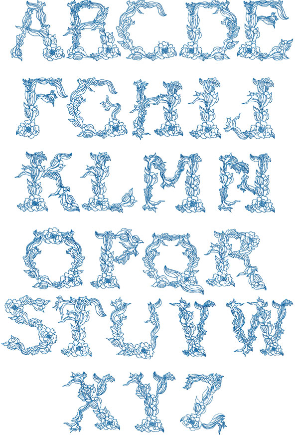 Twine Alphabet machine embroidery designs