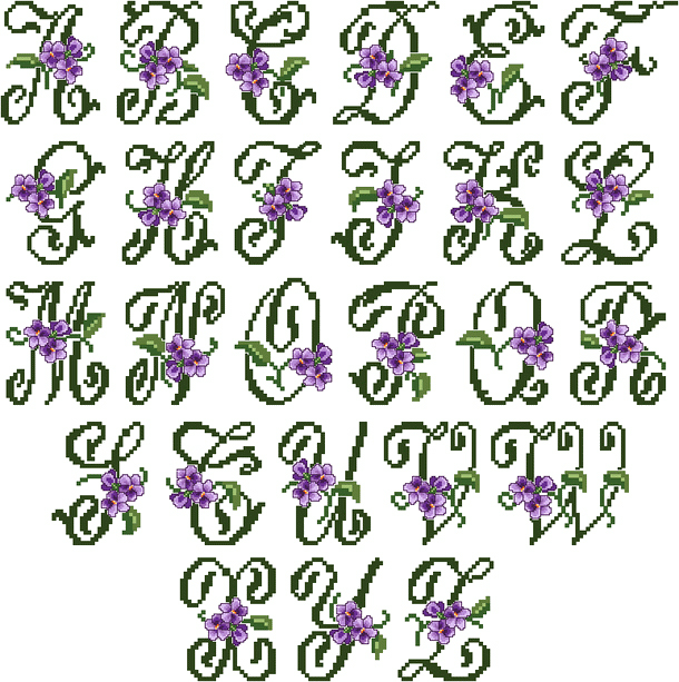 Violets Alphabet in Cross Stitch (large letters)