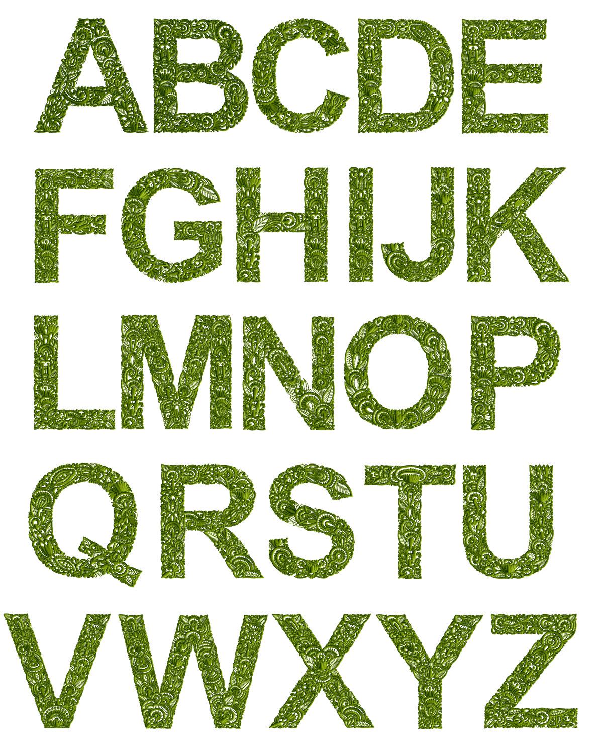 Meadow alphabet for Embroidered alphabet letters