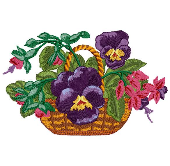 Free Flower Basket Embroidery Designs : Romantic pansies machine embroidery designs hoop