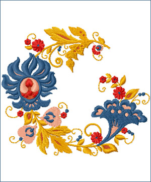 Wreath embroidery designs