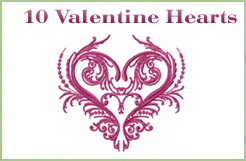 10 Valentines Hearts Embroidery Designs
