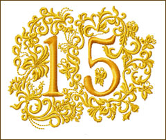 15th Anniversary Embroidery Design