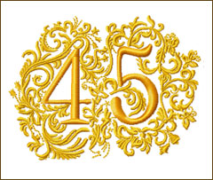 45th Anniversary Embroidery Design