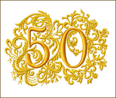50th Anniversary Embroidery Design