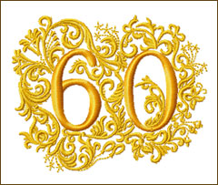 60th Anniversary Embroidery Design