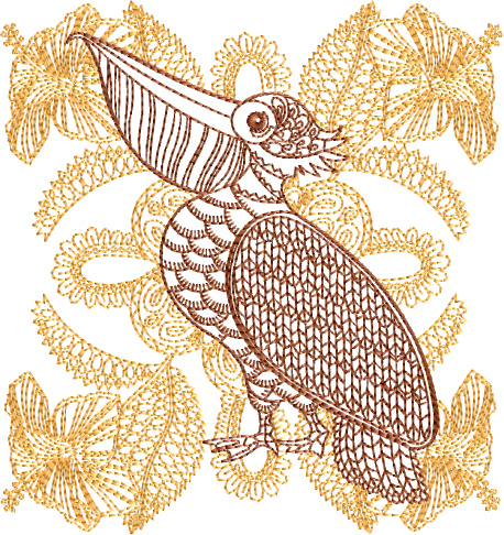 Pelican embroidery designs