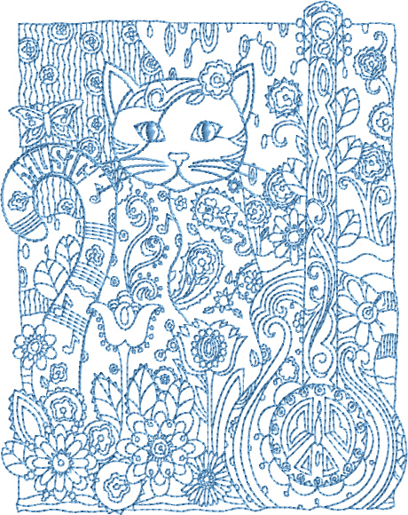 Cat with Guitar Embroidery Designs