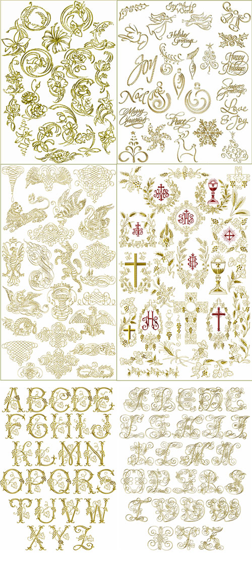6 Embroidery Design Sets for Metallics COMBO