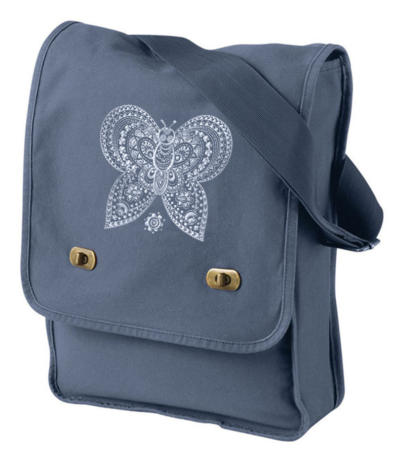 Pigment-Dyed Canvas Field Bag embroidered Butterfly