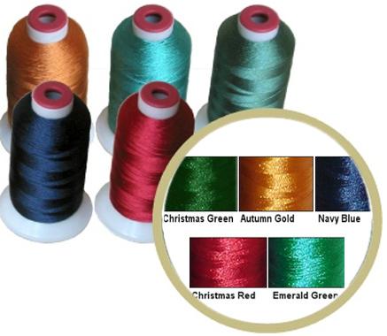 10 Polyester Threads Kit 5 DARK COLORS