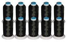 10 Cones Rayon Thread Kit -  BLACK 40wt