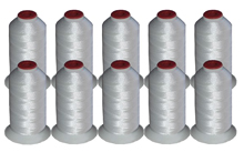 10 Cones Polyester Thread Kit -  WHITE 40wt