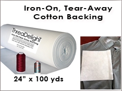 "Iron-On Tear-Away Cotton White- 24"" x 100 yards"