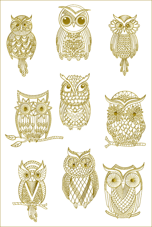 amazing Owl Embroidery Pattern Part - 13: ABC-Machine-Embroidery