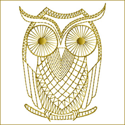 Golden Owl 1 embroidery design