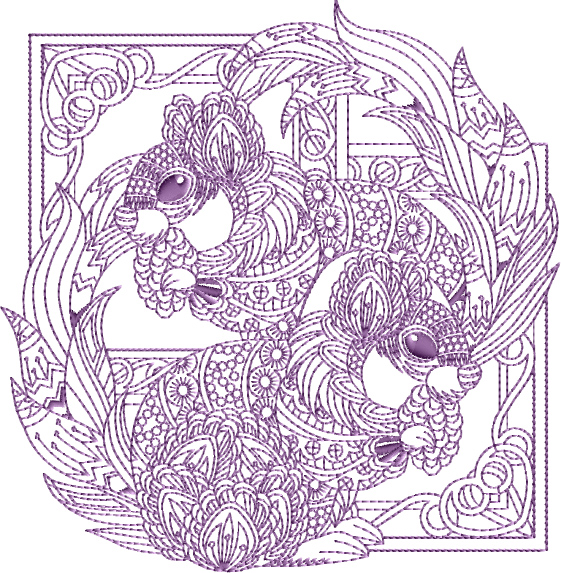 Pair of Squirrels Embroidery Designs