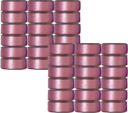 36 L Pre-Wound Plastic Sided Bobbins -Pink