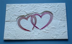 Valentine Card, Embroidered Directly On Mulberry Paper
