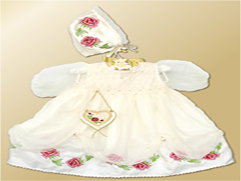 Baptizing Set - a Dress, Cap & Purse with Roses Embroidery Designs