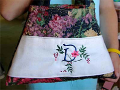 Colorful Quilted Purse with Spring Touch Embroidery Font