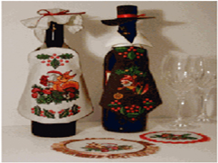 Country-Style Bottle Costumes Apron Embroidery Designs Project