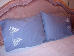 Blue Pillows with Cutwork Butterflies