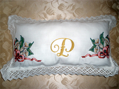 Pillowwith Calla Lilies and Castle Alphabet