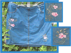 Floral Appliqued Denim with Pastel Tulips Applique