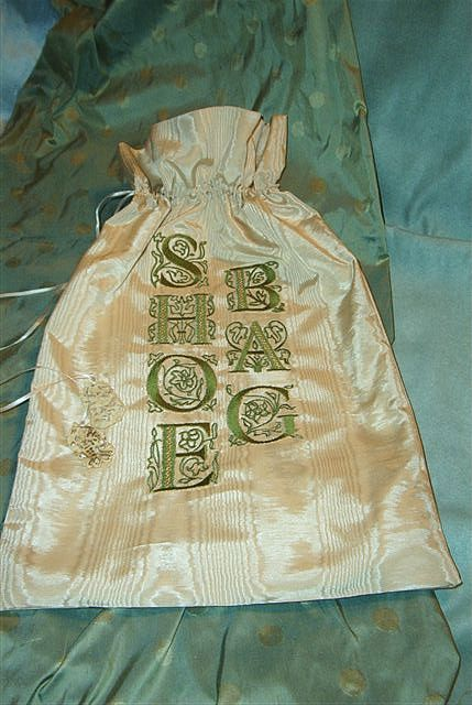 Artificial silk shoe bag with Victorian Glamour monograms