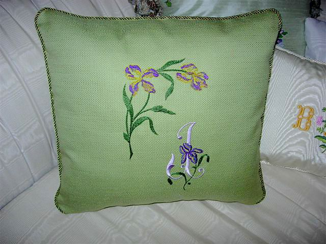 Green Canvas Pillow with Iris Embroidery Designs