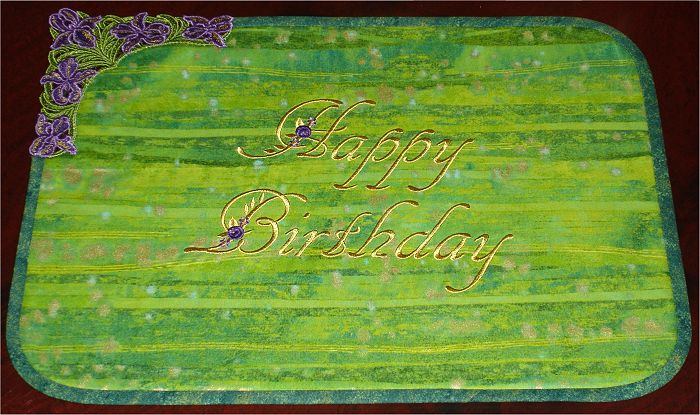 Happy Birthday Placemat with Lace Irises Corner