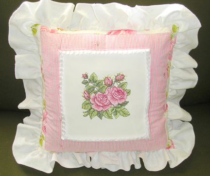 Cottage Rose Quilt Pillow With Roses