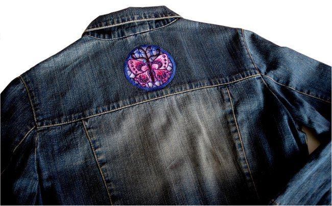 Denim Jacket  with Butterfly Lace Medallions