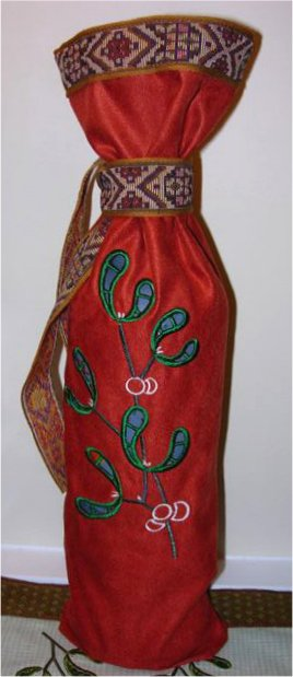 Tablemap and Wine Bottle Cover with Mistletoe Cutwork