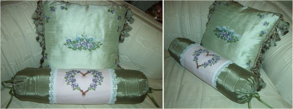 Silk Pillow using Violets Design Set