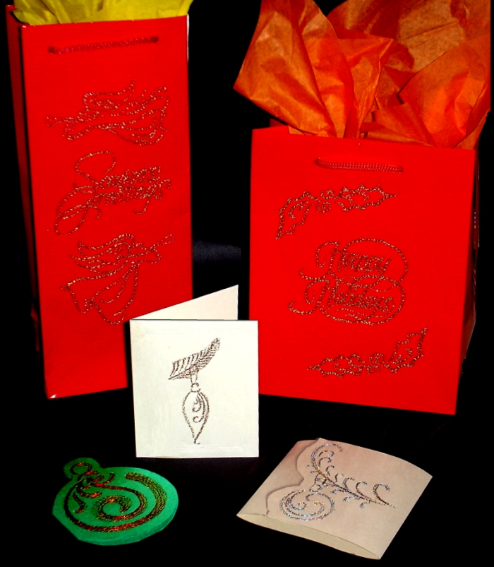 Christmas Postcards and Gift Bags with Metallic Thread