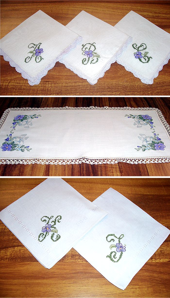 Crocheted Linen Table runner & Napkins Set